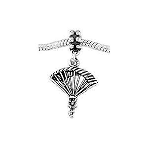 Sterling Silver Parachute Para Sailer Dangle Bead Charm