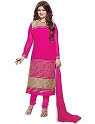 Manvaa Artistic Dark Brown Georgette Salwar Kameez With Pink Chiffon Dupatta