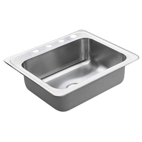 Moen 22869 Excalibur 4 Hole Stainless Steel twenty-two Gauge Single Bowl Drop In Sink, Stainless