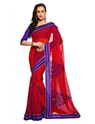 Designersareez Women Faux Georgette Embroidered Maroon Saree With Unstitched Blouse(1553)