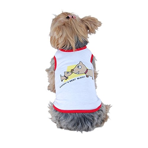 Eforcity® White/ Red Clothes For Pets Daddys Best Buddy Dog Shirt Tshirt Tank Top Pupyy - Medium front-42183