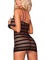 Sexy Womens Fishnet Garter Dress See Through Open Crotch Crotchless Bodystocking