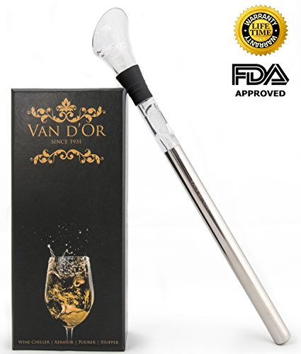 Wine Chiller: Van d'Or 4-in-1 Stainless Steel Wine Cooler Stick with Aerator, Pourer and Stopper (Wine Chiller Rack compare prices)