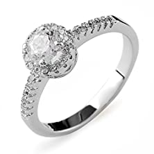 buy Aiyaya Jewelry 0.5 Ct Round Cut 4 Prong Sona Synthetic Diamond Halo Engagement Crystal Ring Bridal Wedding Women