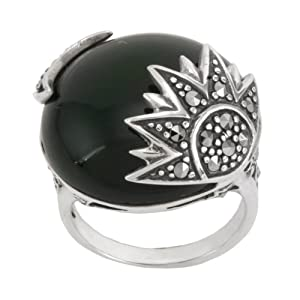 Sterling Silver Marcasite Onyx Sun and Moon Ring, Size 5
