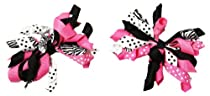 Set of 2 Dazzling Zebra Curly Ribbon Korker Hair Bow Clips - 2.5""