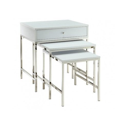 Modern Chrome White Nesting Table 3 Piece Set, 1 Piece With Drawer