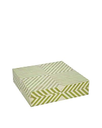 Three Hands Resin 12 Striped Wood Box, Green