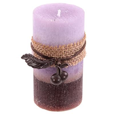 Hessian Berry Lilac Scented Round Pillar Candle 95 X 5cm from Puckator
