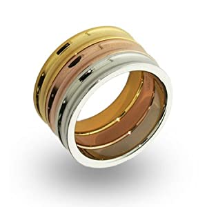 Three Tone Stackable Concave Ring Set Size 6 (Sizes 5 6 8 9 10 Available)