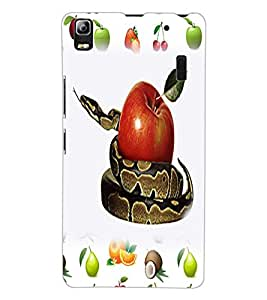 ColourCraft Fruit and Snake Design Back Case Cover for LENOVO A7000 PLUS
