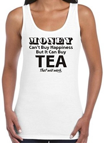 Money Can'T Buy Happiness But It Can Buy Tea Juniors Tank Top Large White