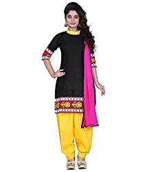 anarkali designer Womens Fabric Cotton Salwar Suit (213 Black__Freesize )