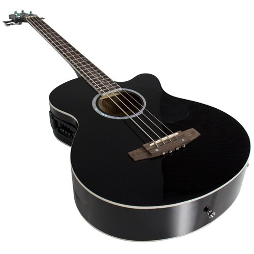 electric acoustic bass guitar black solid wood construction with equalizer new krood music. Black Bedroom Furniture Sets. Home Design Ideas