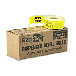 Message Right Arrow Flag Refills, \'\'Sign Here\'\', Yellow, 6 Rolls of 120 Flags, Sold as 1 Box