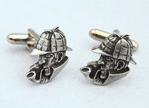 Solid Pewter Sherlock Holmes Cufflinks with Gift Box