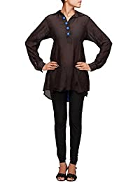 Kalki Fashion Black Collar Kurti With Buttoned Placket Only On Kalki Size- Large