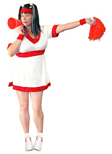 Women's Red Cheerleader Economy Kit Plus Size Supersize Halloween Costume Kit