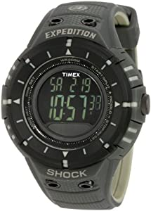 Timex Men's T49612 Expedition Trail Series Shock Digital Compass Black/Green Resin Strap Watch