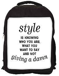 Snoogg Not Giving A Damn Backpack Rucksack School Travel Unisex Casual Canvas Bag Bookbag Satchel
