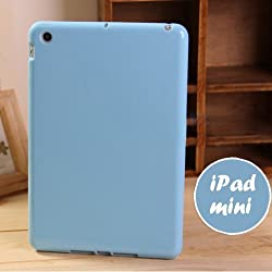iPad Mini / Mini 2 Retina / Mini 3 Jelly Case, ANLEY Candy Fusion Series - [1.5mm Slim Fit] [Shock Absorption] Jelly Silicone Bumper with Frosted Clear Hard Back Cover for Apple iPad Mini 3, 2 & 1 (Sky Blue) + Free Ultra Clear Screen Protector Film