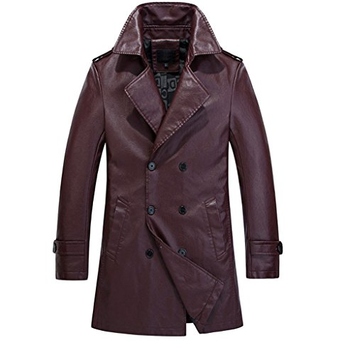 YGT Men's Faux Leather Slim Trench Coat Double Breast Parka Jacket Outwear dark red US M