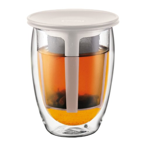 Bodum Tea For One- Glass, Double Wall, 0.35 L, 12 Oz And Tea Strainer- Off White