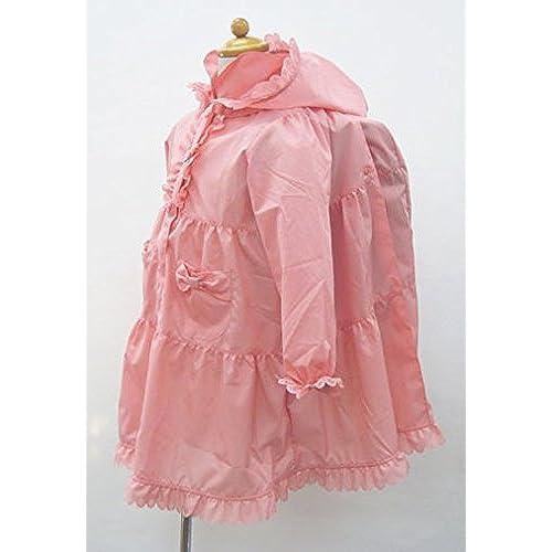레인 코트 어린이용 핑크 란도세루(초등학생이 어깨에 매는 가방)의 위로부터OK 키즈 레인 프릴 꽃 리본 수납 대부 우비 카파 귀여운 통원통학 입원 입학 소풍 유치원 보육원 초등학교 수험 (130 (125~135cm))- (Size:140)