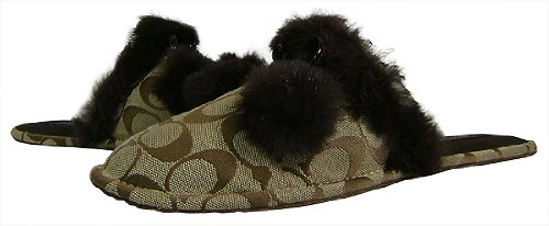 Cheap Coach Signature Jayda Khaki Bedroom Slippers (B004MTNK3O)