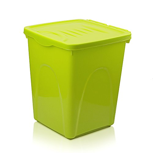 Petphabet Airtight Pet Food Storage Container with Wheels, Up to 30 Pounds Storage, Green (30lb Storage Container compare prices)