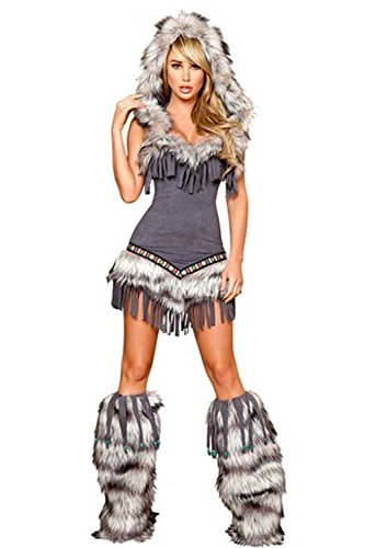 [Lover-baby Faux Suede Faux Fur Trim Hood Native American Temptress Costume] (Sexy Monster Halloween Costumes)