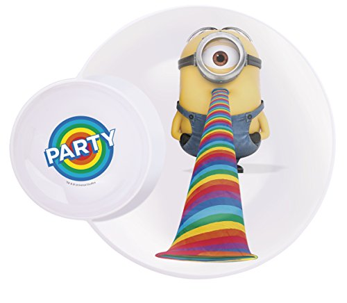 Zak! Designs Multi-Purpose Plate with Built In Dipping Sauce Dish featuring Despicable Me 2 Minions Graphics, Break-resistant and BPA-free Melamine, 11""