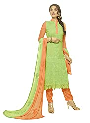 Zbuy Green Georgette Embeoidered Unstitched Salwar Suit Dress Material