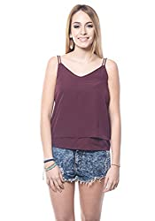 MAROON NOODLE STRAP TOP For Women