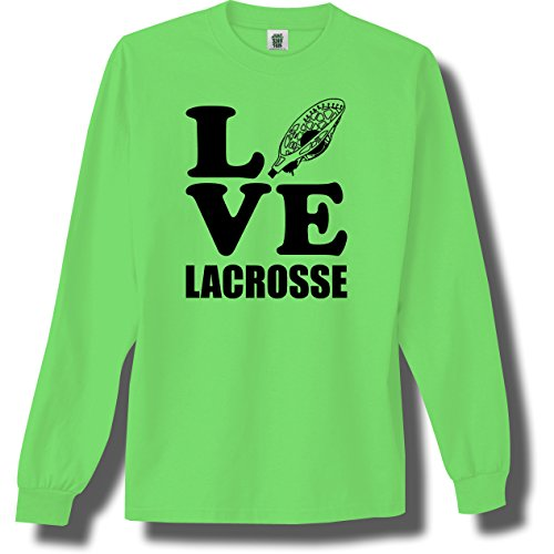 Love Lacrosse Neon Green Adult Long Sleeve T-Shirt - X-Large
