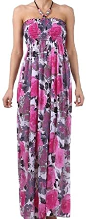 FOPeony48A-7932 Modern Peony Floral Graphic Print Beaded Halter Smocked Bodice Long / Maxi Dress - Pink / Charcoal - Large