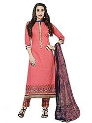 SR Women's Cotton Unstitched Dress Material (Peach Top Print Bottom Duptta)