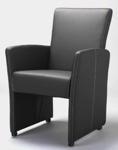 design esszimmerstuhl esszimmersessel rollbar sessel leder schwarz mit wei er naht sessel. Black Bedroom Furniture Sets. Home Design Ideas