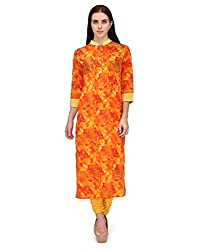 Adyana Floral Print Long Cotton Kurta with Pin Tucks (Medium)