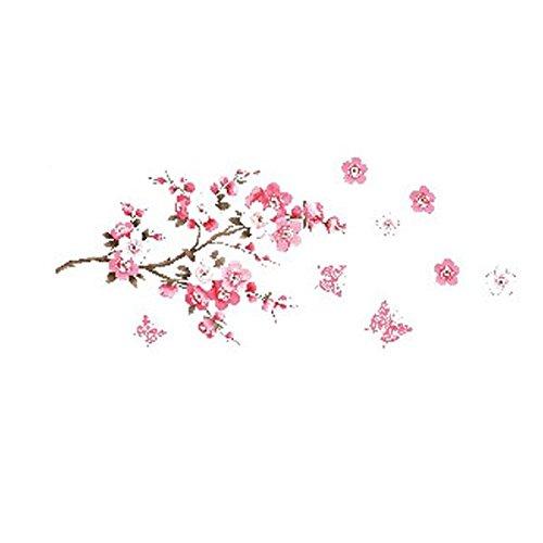 asdomo peach blossom blumen diy abnehmbar wand aufkleber dritte generation matt feel papier art. Black Bedroom Furniture Sets. Home Design Ideas