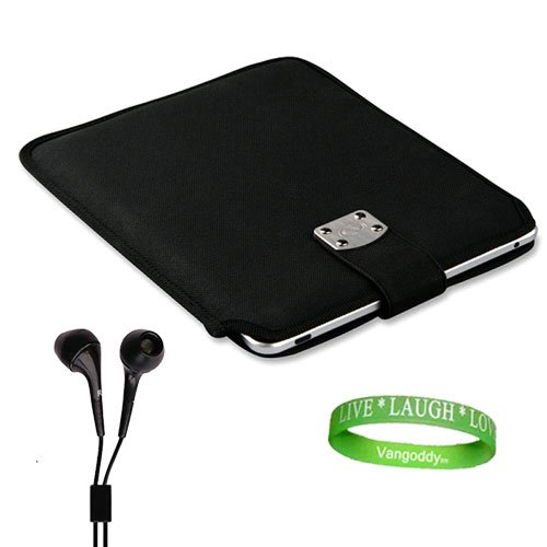 Leather Gladiator Case for HP Touch Pad + Compatible Black Headphones + Vangoddy Live*Laugh*Love Wristband