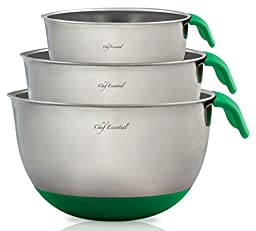 Chef Essential Stainless Steel Non-Slip Mixing Bowls Set with Handles and Pour Spouts, Set of 3, Green