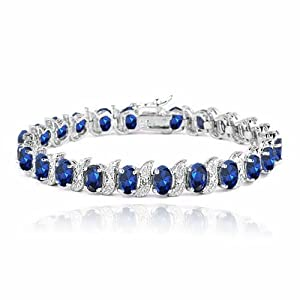 Sterling Silver 15ct Created Sapphire & Diamond Accent S and Oval Link Bracelet