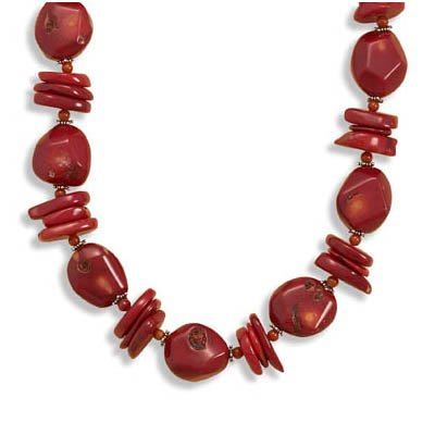 17 + 2 Inch Extension Red Coral Nugget and Red Coral Chip Necklace