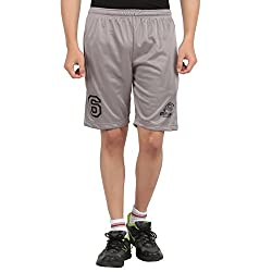 DKCLUES-GREY-POLYESTER SPORTS PRINTED SHORTS
