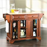 Crosley Furniture LaFayette Natural Wood Top Kitchen Island in Classic Cher ....
