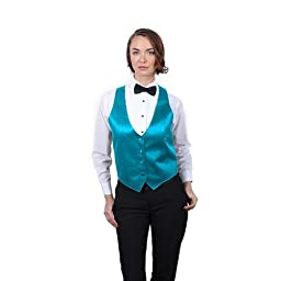 Women\'s Turquoise Satin Fashion Vest Extra Small