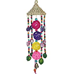 Bird Toys,Vpets Bird Coloful Walnut Bird Toy Wooden Balls Rushwork Head Cover Small Bell Toys