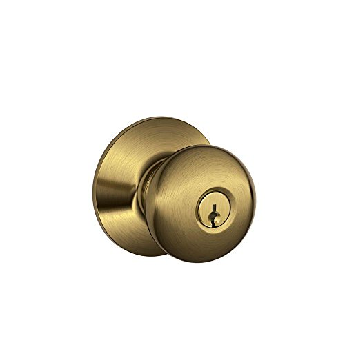 Schlage F51A PLY 609 Plymouth Keyed Entry Knob, Antique Brass (Door Knob That Locks compare prices)