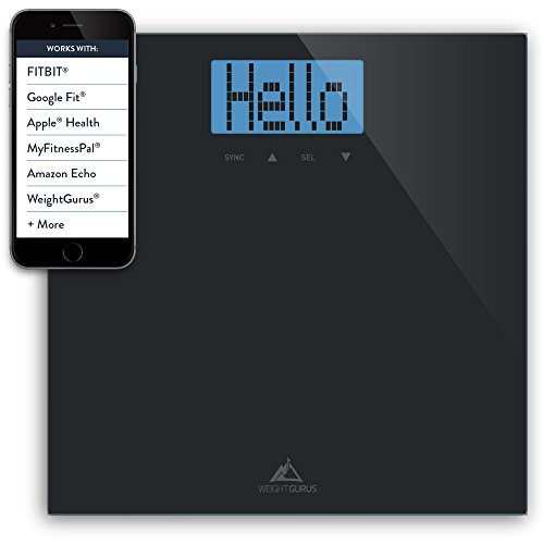 Weight Gurus Digital Bathroom Scale with Large Backlit LCD and Smartphone Tracking (Black) (Scale App compare prices)